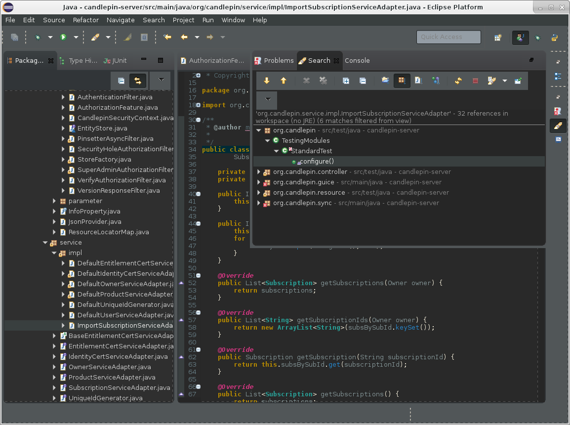 Screenshot of Eclipse Mars with Dark theme and Adwaita Dark GTK theme
