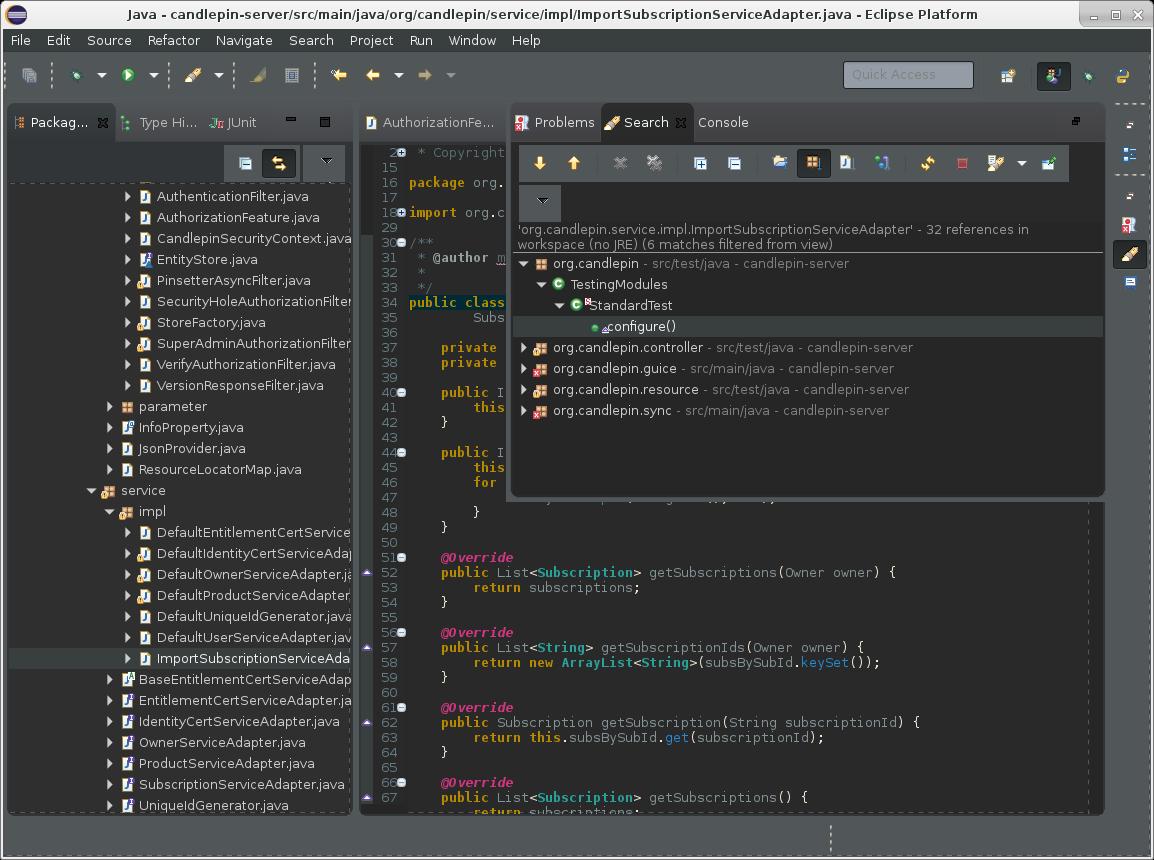 Screenshot of Eclipse Mars with Dark theme and Adwaita Dark GTK theme